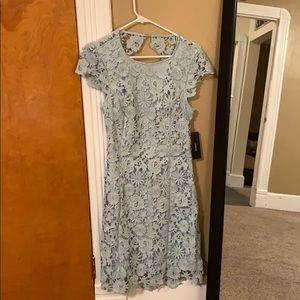 Lulus Sage Green Backless Lace Dress